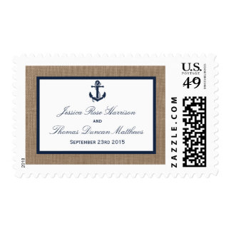 The Navy Anchor On Burlap Beach Wedding Collection Stamp