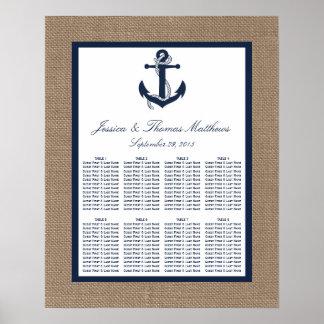 The Navy Anchor On Burlap Beach Wedding Collection Poster