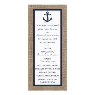 The Navy Anchor On Burlap Beach Wedding Collection Rack Card