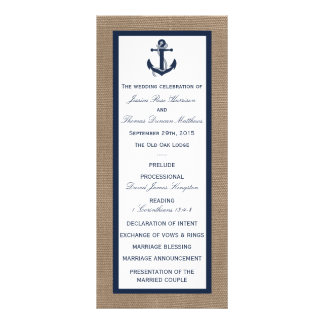 The Navy Anchor On Burlap Beach Wedding Collection Rack Card Design