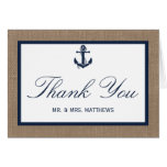 The Navy Anchor On Burlap Beach Wedding Collection Stationery Note Card