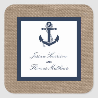 The Navy Anchor On Burlap Beach Wedding Collection Square Sticker