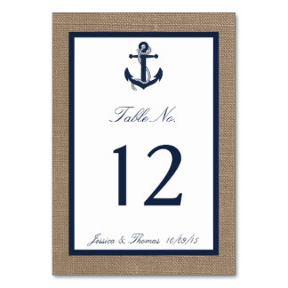 The Navy Anchor On Burlap Beach Wedding Collection Table Card