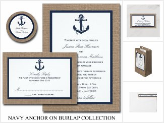 The Navy Anchor On Burlap Collection