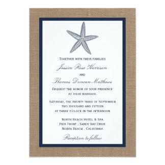 The Navy Starfish Burlap Beach Wedding Collection 5x7 Paper Invitation Card