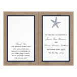 "The Navy Starfish Burlap Beach Wedding Collection 8.5"" X 11"" Flyer"