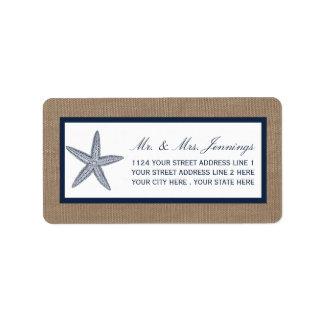 The Navy Starfish Burlap Beach Wedding Collection Address Label