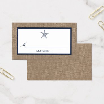 Beach Themed The Navy Starfish Burlap Beach Wedding Collection Business Card