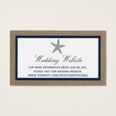 The Navy Starfish Burlap Beach Wedding Collection Business Card at Zazzle