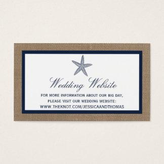 The Navy Starfish Burlap Beach Wedding Collection Business Card
