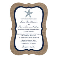 The Navy Starfish Burlap Beach Wedding Collection Card