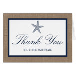 The Navy Starfish Burlap Beach Wedding Collection Stationery Note Card