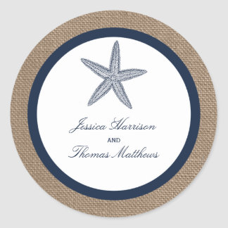 The Navy Starfish Burlap Beach Wedding Collection Classic Round Sticker