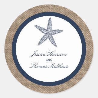 The Navy Starfish Burlap Beach Wedding Collection Classic Round Sticker