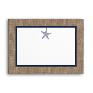 The Navy Starfish Burlap Beach Wedding Collection Envelope