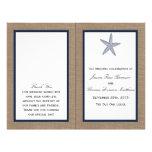"The Navy Starfish Burlap Beach Wedding Collection 8.5"" X 11"" Flyer"