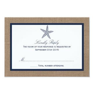 The Navy Starfish Burlap Beach Wedding Collection 3.5x5 Paper Invitation Card