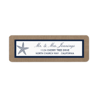 The Navy Starfish Burlap Beach Wedding Collection Label
