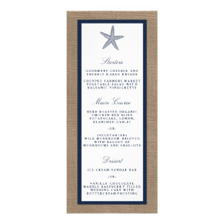 The Navy Starfish Burlap Beach Wedding Collection Personalized Rack Card