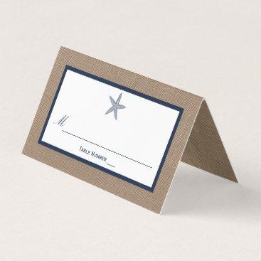 Beach Themed The Navy Starfish Burlap Beach Wedding Collection Place Card