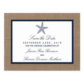 The Navy Starfish Burlap Beach Wedding Collection Postcard