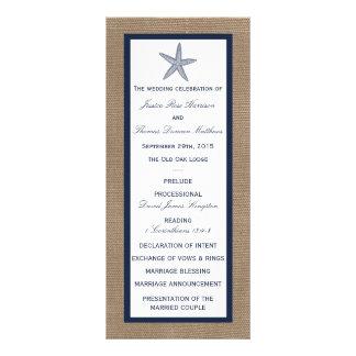 The Navy Starfish Burlap Beach Wedding Collection Rack Cards