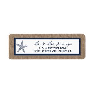 The Navy Starfish Burlap Beach Wedding Collection Return Address Label