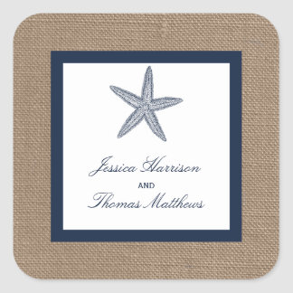 The Navy Starfish Burlap Beach Wedding Collection Square Sticker