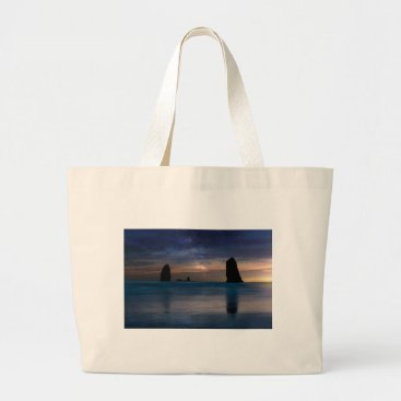 Beach Themed The Needles Rocks Under Starry Night Sky Large Tote Bag