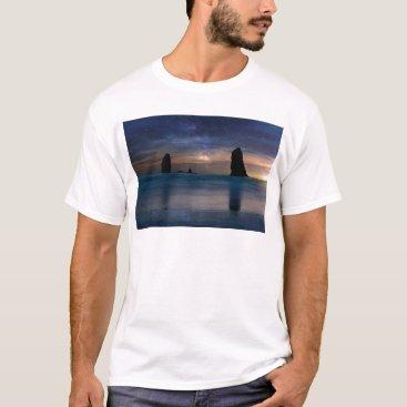 Beach Themed The Needles Rocks Under Starry Night Sky T-Shirt