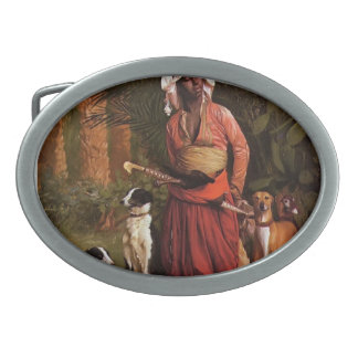 The Negro Master of the Hounds by Jean-Leon Gerome Oval Belt Buckle