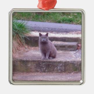 The Neighbors Grey Cat Metal Ornament