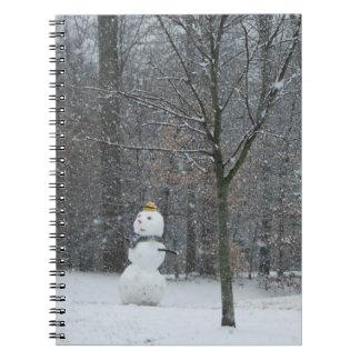 The Neighbor's Snowman Winter Landscape Notebook