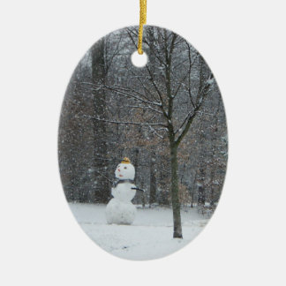 The Neighbor's Snowman Winter Snow Photography Ceramic Ornament