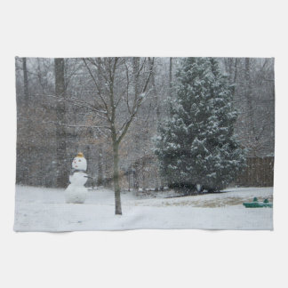 The Neighbor's Snowman Winter Snow Photography Hand Towels