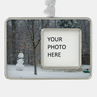 The Neighbor's Snowman Winter Snow Photography Ornament