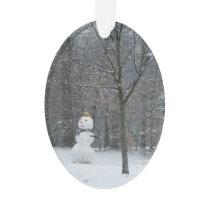 The Neighbor's Snowman Winter Snow Photography Ornament