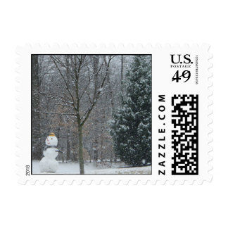 The Neighbor's Snowman Winter Snow Photography Postage Stamp