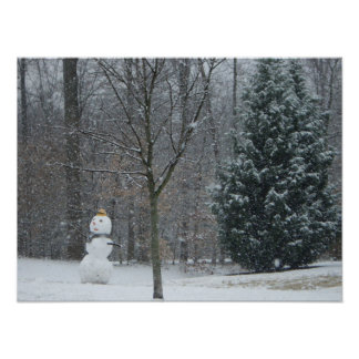 The Neighbor's Snowman Winter Snow Photography Poster