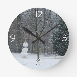 The Neighbor's Snowman Winter Snow Photography Round Clock