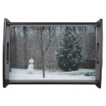 The Neighbor's Snowman Winter Snow Photography Serving Tray