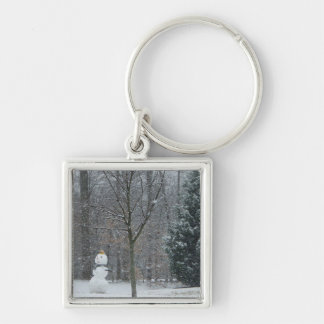 The Neighbor's Snowman Winter Snow Photography Silver-Colored Square Keychain