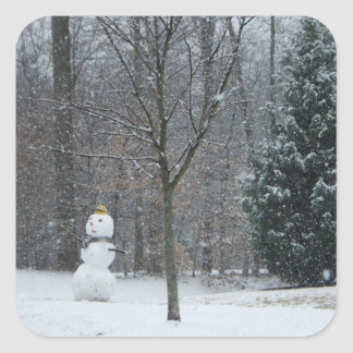 The Neighbor's Snowman Winter Snow Photography Square Sticker