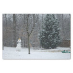 The Neighbor's Snowman Winter Snow Photography Tissue Paper