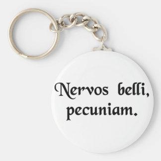 The nerve of war, money. basic round button keychain