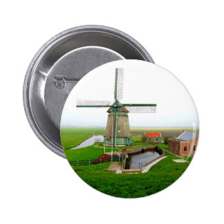 The Netherlands scenic landscape with windmill Pinback Button