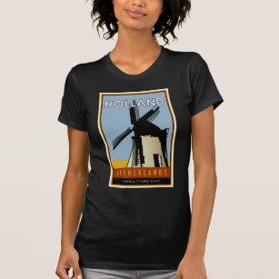 Amsterdam Holland Windmill Netherlands Nederlands Pride Mens V-neck T-shirt