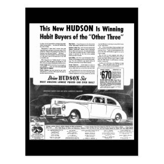 The New 1940 Hudson Automobile Post Cards