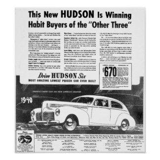 The New 1940 Hudson Automobile Poster