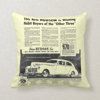 The New 1940 Hudson Automobile Throw Pillow